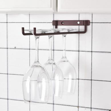 Amazon Hot Sale Wine Glass Rack Under Cabinet Stemware Wine Glass Holder Glasses Storage Hanger Metal Organizer
