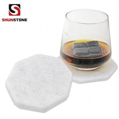 SHUNSTONE hexagon marble in tubled non-slip coaster set