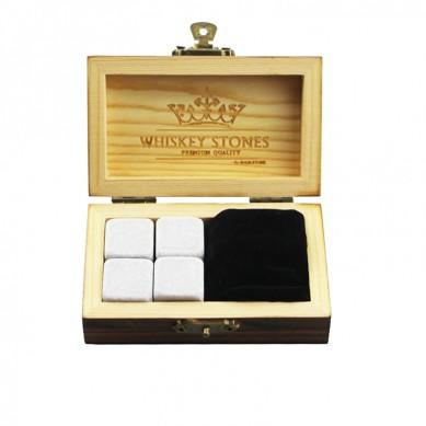 wiederverwendbar Eis Steine klein und billig Whisky-Steine-Geschenk-Set mit 4pcs von Aschenputtel Steinen und 1 Stück von Samtbeutel kleinem Stein Geschenk-Set