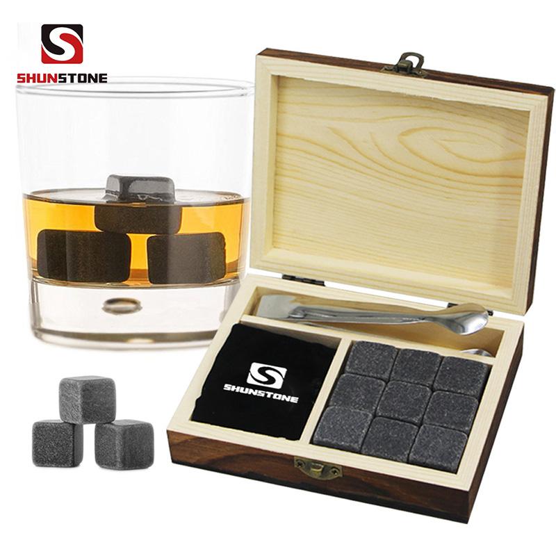 Diamond Whiskey Stones with Custom Engraved Wooden Gift Box Wholesale Natural 100% Soap Stone Whisky Stone Customized Stone Featured Image
