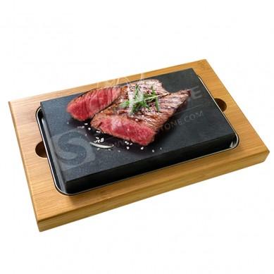 Tableware Hotel Multi-functional Wood Slate Serving Tray Bread Cake Steak Wooden Base Stone Plate