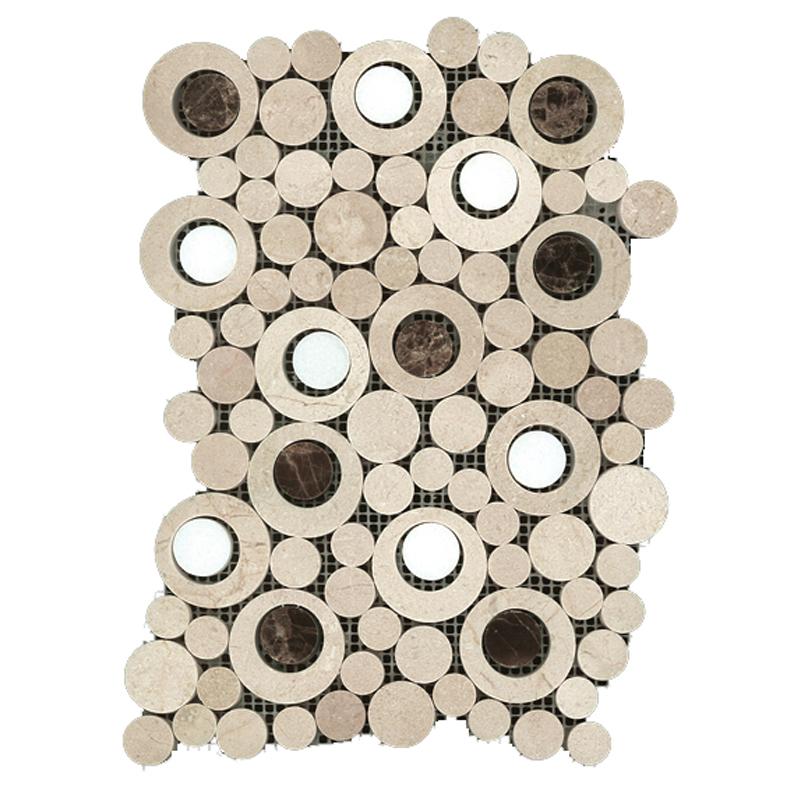 Italian Carrara White Marble Circle Bubble Mosaic Tile Honed Gray white marble mosaic tiles Shaped mosaic tiles Featured Image
