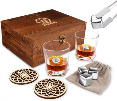 luxury wooden coaster Whiskey Stones Gift Set Bourbon Whiskey drinking Glass Set