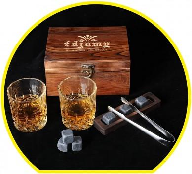 OEM Whiskey Glass2 Piece Set – Whiskey Stone GiftSet- Whisky Chilling StonesWooden gift boxMan's gift Scotch Glass