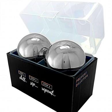 Whiskey Stones Gift Set 2 Whisky Ice Balls of Steel Whiskey Chillers for Men