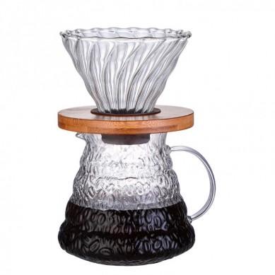 V60 Pour Over Glass Pot 600ml Range Coffee Server Pot Filter Carafe Drip Coffee Pot Tea Kettle Brewer Barista Percolator