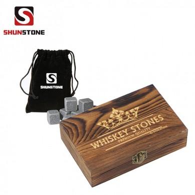 Diamond Whiskey Stones with Custom Engraved Wooden Gift Box Wholesale Natural 100% Soap Stone Whisky Stone Customized Stone