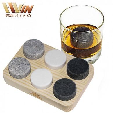 Customized 6 pcs of Round whiskey stone gift set in wood box