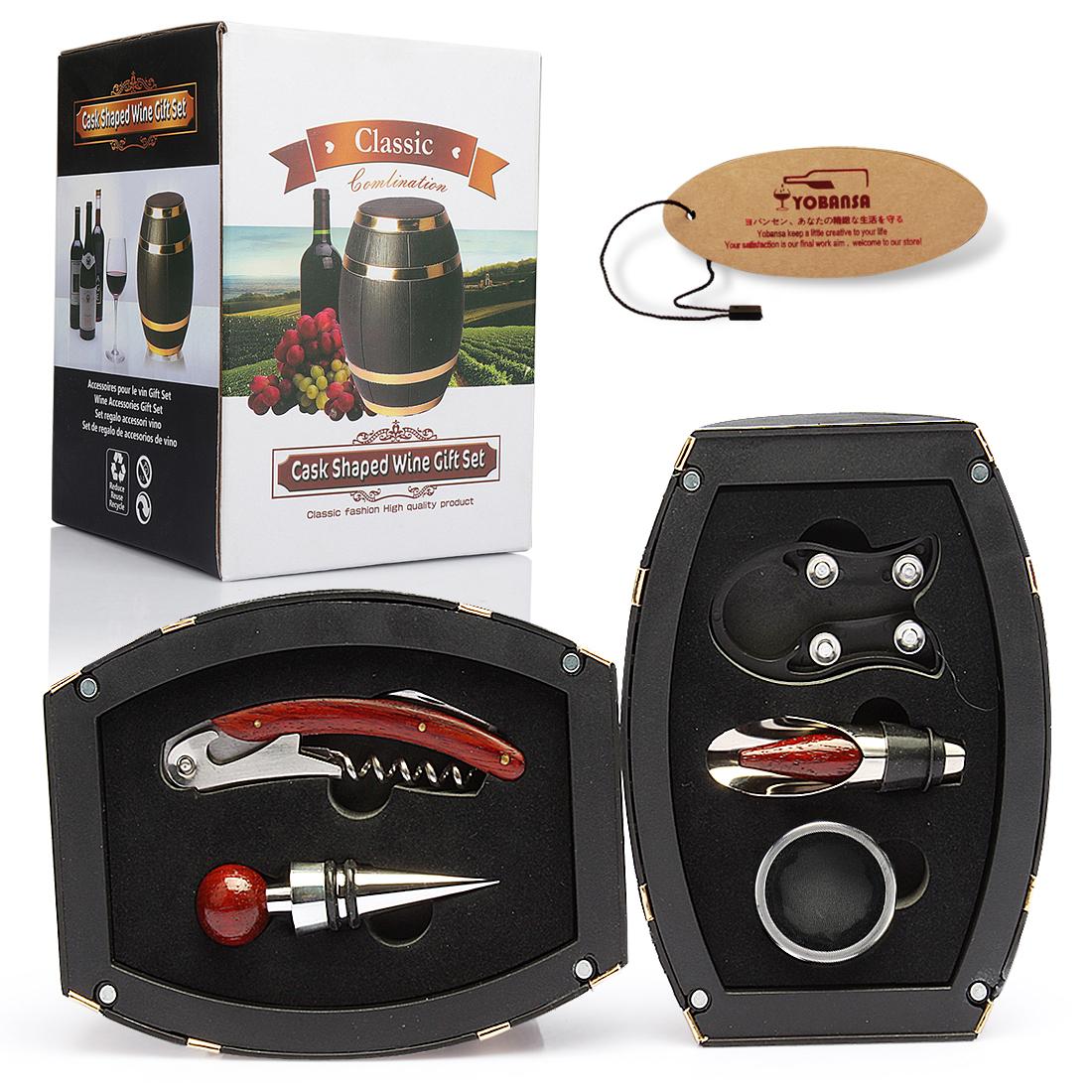 SHUNSTONE Hot Sale Wine Barrel Shaped Wine Accessories Gift Set Wine Opener Corkscrew Featured Image