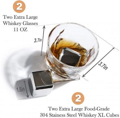 Stainless Steel Whiskey Stones Glasses ChillingTwisted Whiskey Glasses Gift Set