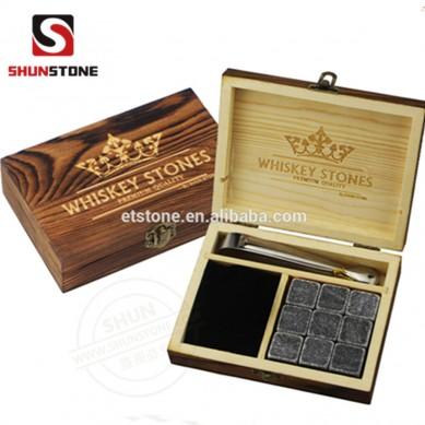 Amazon Whiskey Stones Whiskey Stones Gift Set 9 Granite Whisky Rocks in Handmade Wooden Box