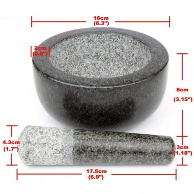 SHUNSTONE Pestle and Mortar Set Premium Solid Granite Stone Large Black – 16cm(6.3) Diameter