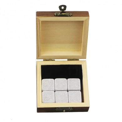 Liten trä gåva 6 st whisky sten gåva Whisky Ice Stones drycker Cooler Kuber Natural Chilling Whisky Stones med Gift Box