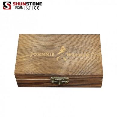 6 pcs of Stainless Steel Whiskey Stones Gift Set with 1 velvet bag  Support Logo Engraving Service