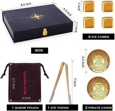 Customized Skull Gold Coin Stainless Steel Reusable Whiskey Stones luxury gift Set golden reused ice cube stone