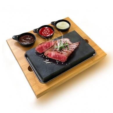 Chinese factory Amazon hot selling Matt black steak stone Set gift set Sizzling Lava cooking stone set