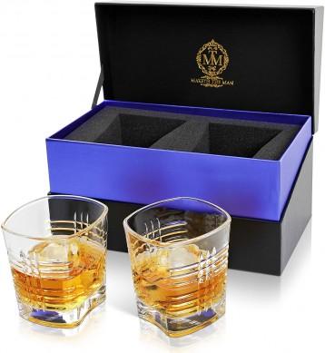 Premium Lead free Whiskey Glasses Set 10oz Double Old Fashioned Rocks Glasses gift box