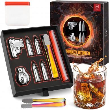 2021 Christmas gift Customized  ice cub stone gift set Whiskey Stones Gift Set for Men Stainless Steel whiskey stone ( bullet gun bomb shape)