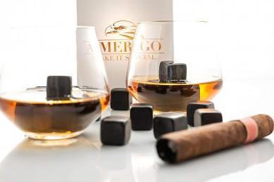 Whiskey Stones Gift Set of 9 Black Marble Whiskey Rocks