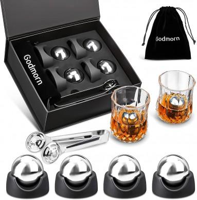 Large Stainless Steel Whiskey stone Whisky Ice Balls Gift Box