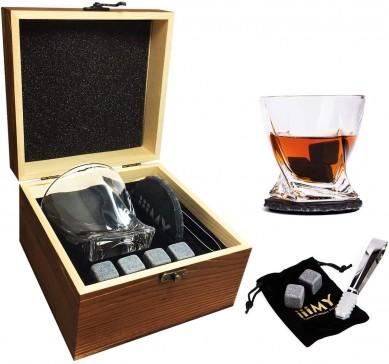 OEM Whiskey Stones Twist Whiskey Glass Slate Drink Coaster wine glasses gift set