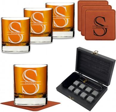 Amazon choice Whiskey Stone Set whiskey glass stone coaster whole wine gift set by wooden box