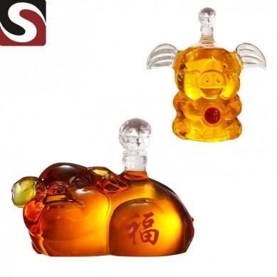 high quality handmade pig shape wine glass decanter with cork