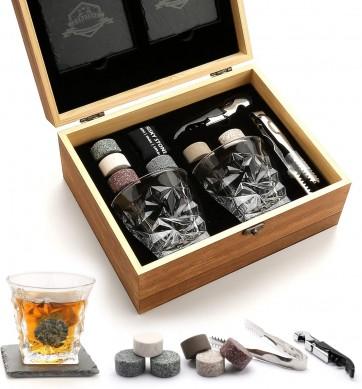 Whiskey Glass Set Granite Chilling Whiskey Rocks Scotch Bourbon Whiskey Glass Gift Box Set