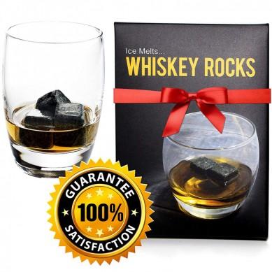 Whiskey Rocks – Premium Granite Whiskey Stones Set Black – Pure Granite – Set of 9 Whisky Chilling Stone