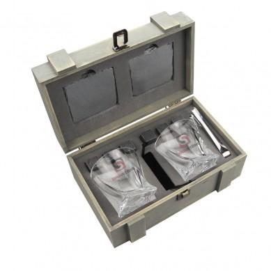 Lead free glass 10 oz Twist Whiskey Glass and whiskey stone slate coaster in grey wood box