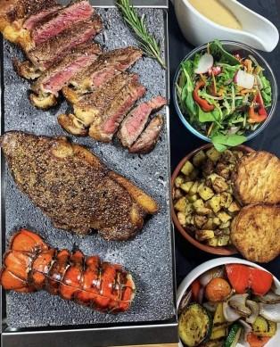 BBQ tool Sharing Stone Grill Gift Set  Steak Stone Grill Sizzling Lava Stone Steak gift set