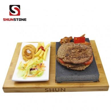 4 Pieces set Lava steak stone set ,Black Steak Grill Stone Plate Hot Stone Grill