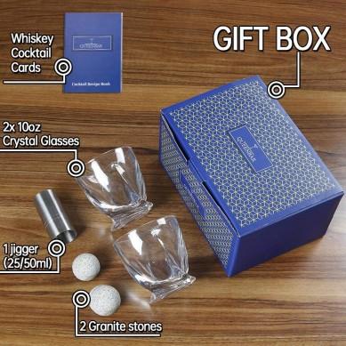 Pro luxury 10 oz old fashioned whisky glass tumbler granite whisky ball stone wine gift set