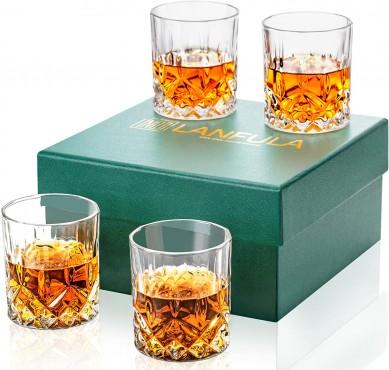 Premium 10 Oz Crystal Rocks Glasses Lowball Tumbler For Bourbon, Scotch, Cocktail or Irish Whisky Large Bar Glasses Set In Gift Box
