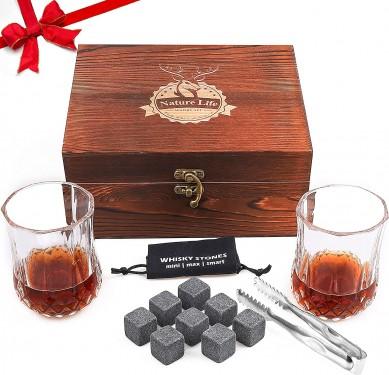 Whiskey glass set Bourbon Gifts for Men,whiskey stones & Whiskey Glasses Set of 2,Whisky Rocks Christmas Anniversary gift set