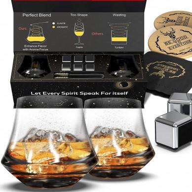Whiskey Glasses Set stainless steel Whiskey Stones Gift Set for Men with Crystal Bourbon Whiskey Glasses Gift Set