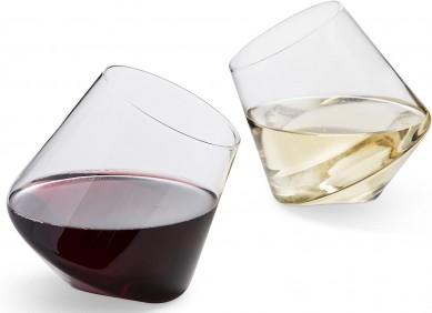Amazon hot selling Rolling rock wine glass Hand Blown Stemless Wine Glasses Wine Tumblers Set Naturally Aerating, Elegant Wine Glassware