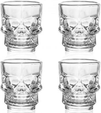 Skull Shot Glass Set 4 Halloween Crystal Skull Design 25ml 50ml Large by Flow Barware