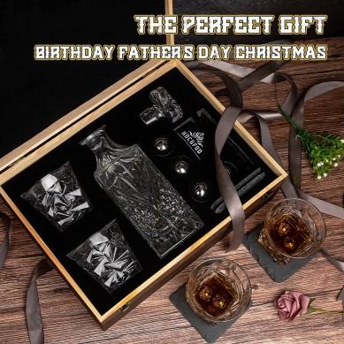 FDA Whiskey Decanter Twisted Whiskey Glasses Whiskey stone Balls wine gift set