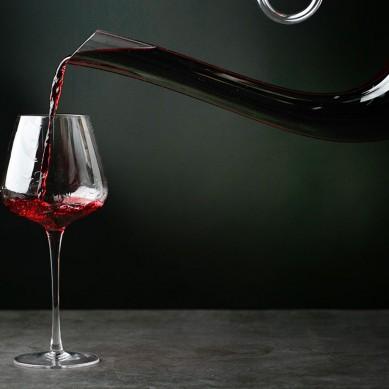 Custom gift handmade crystal high borosilicate red wine bottle glass decanter