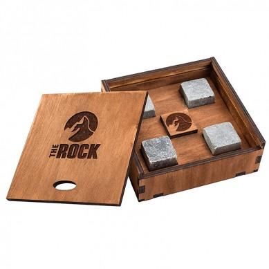 Erityinen henkilökohtainen Whisky Stone asettaa sametti pussi Wood lahjapaketti FDA LFGB hyväksynnän Shunstone