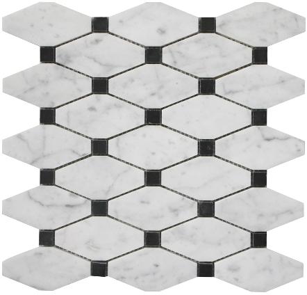 Italian Carrara White Lantern Polished Marble Mosaic Tiles for Kitchen Bathroom Shower Wall Floor Backsplash Tiles Featured Image