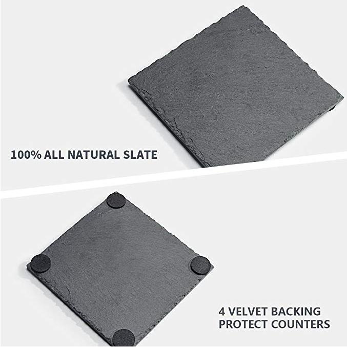 OEM/ODM China Globe Decanter - SHUNSTONE Sweese 3403 Slate Coasters with 4 Velvet Backing for Drinks – 4 Inch – Set of 8, Square – Shunstone