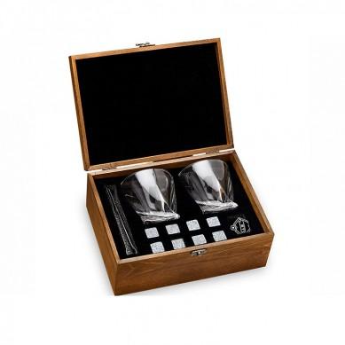 Whiskey Stones and Whiskey Glass Gift Boxed Set-8 Granite Chilling Whisky Rocks+2 Crystal Glasses