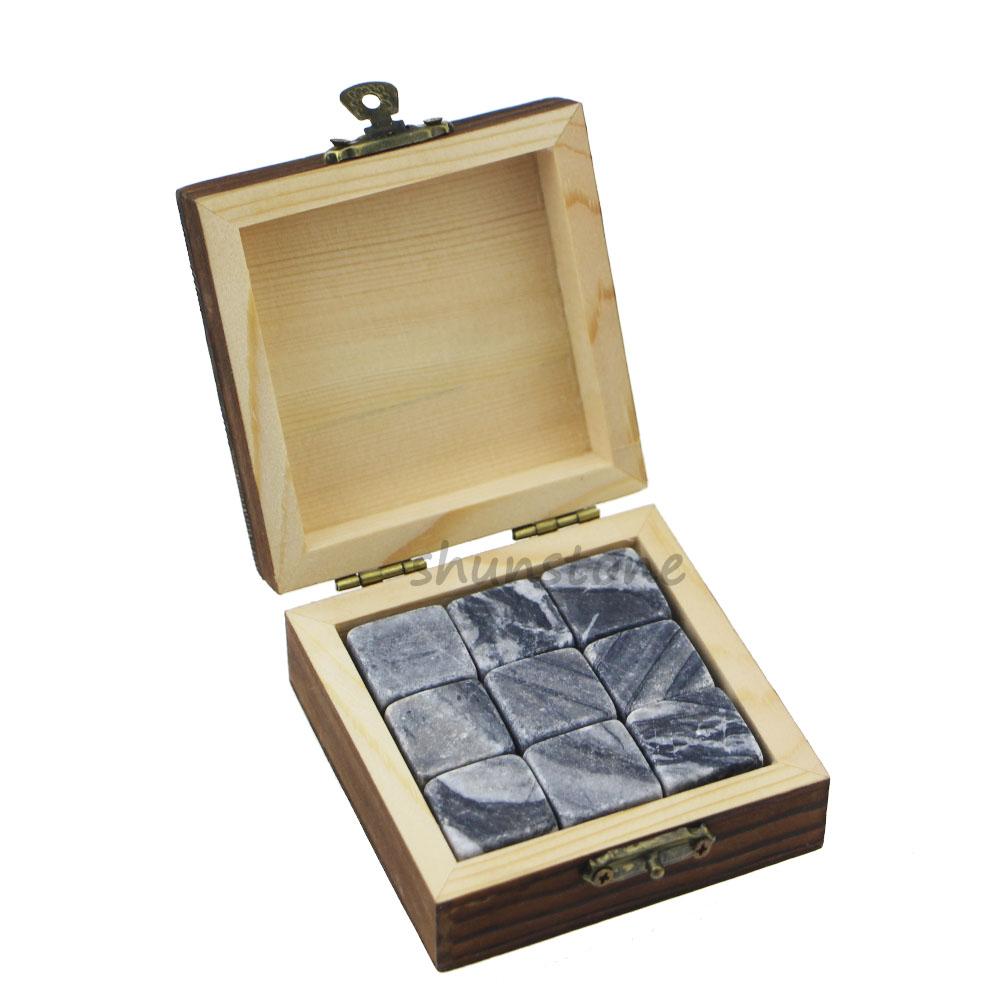 OEM/ODM China Serving Board - 2019 New Hottest Whisky Wine Stone Ice Cube Ice 9 pcs of Wine Chilling Rocks Whiskey Stone Set Gift Wood Box Package Novelty Wine Gifts – Shunstone
