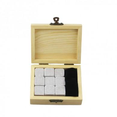 Top selling Wholesale Cinderella whisky Chilling Stones 9 pcs Whiskey Stone Set Creative Gift Set Custom Whiskey Wine Ice Stone with Wooden Box