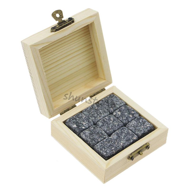 2017 New Style Cigar Glass - 9 pcs of whiskey rocks Promotion Liquor and Wine Cooler Black Rocks Chilling Stones Whiskey Ice Stones Granite Gift Set – Shunstone