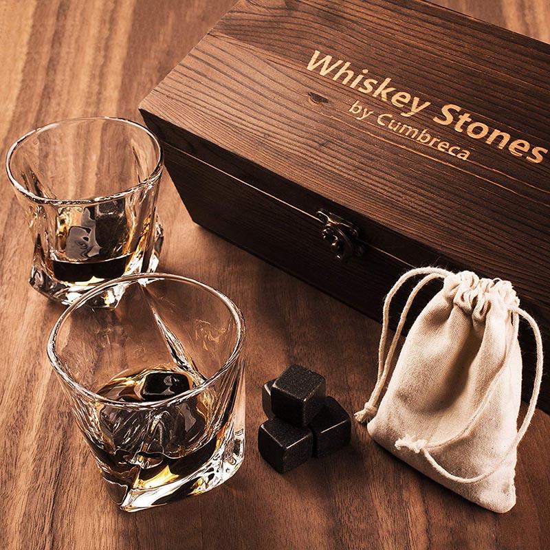 100% Original Factory Premium Bar Accessories - Whiskey Stones Gift Set – 8 Granite Chilling Whisky Rocks + 2 Large Crystal Whiskey Glasses – Beverage Drinking Ice Stones + Whisky Tumb...
