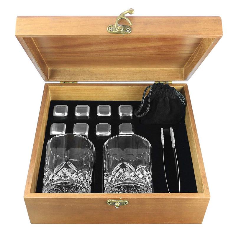 Trending ProductsCooking Stone - Zalik Whiskey Stones Gift Set – Set Of 8 Stainless Steel Beverage Chilling Rocks Ice Cubes Includes 2 Whiskey Glasses, Velvet Bag, Tongs With Elegant Wooden Gift Box – Shunstone Featured Image