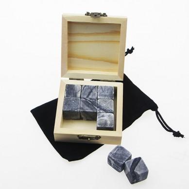 Cheap 9pcs Dark Grey Basalt Whiskey Stones with Natural Wooden Box